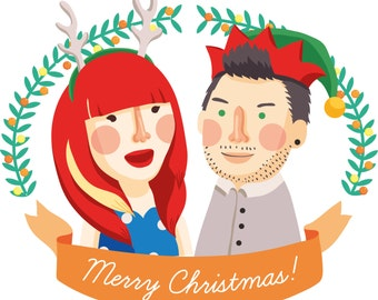 CUSTOM Couples portrait Personalised Christmas greeting card