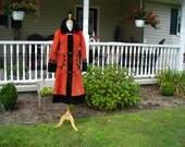60's 70's burnt orange full length coat, faux fur trim, faux suede, decrative pockets, Saks Fifth Ave. size small