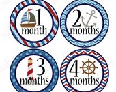 Boy Monthly Baby Stickers, 1 to 12 Months, Monthly Bodysuit Stickers, Baby Age Stickers, Nautical Chevron and Dots  (024-1)