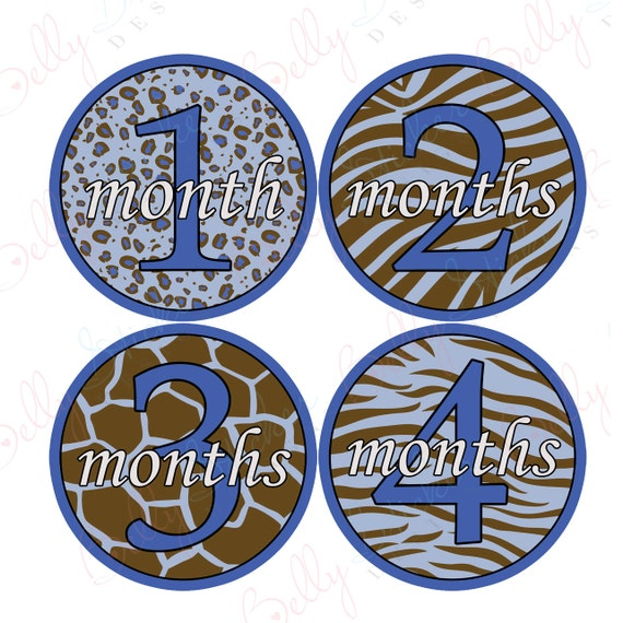 Boy Monthly Baby Stickers, 1 to 12 Months, Monthly Bodysuit Stickers, Baby Age Stickers, Safari Print  (018-3)