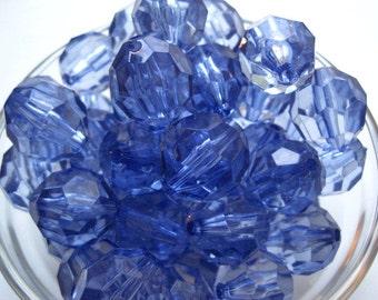 Bubblegum Beads, 20mm Blue Faceted Beads, 10 pcs, Translucent Bead, Gumball Bead, Acrylic Bead, Plastic Bead, Necklace Bead