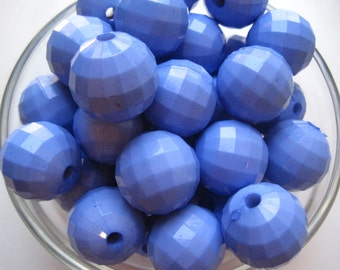 Light Blue Faceted Beads, 10 pcs, 22mm Gumball Beads, Chunky Necklace Bead, Faceted Bead, Acrylic Bead, Bubblegum Bead, Round Bead