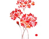 Watercolor flower abstract painting, giclee art print, red flowers wall decor