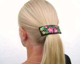 Hand embroidered hair accessory, flowered handembroidery barrette