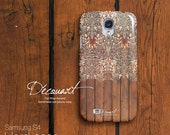 Floral wood Samsung galaxy S3 case, Samsung galaxy S4 case, Samsung galaxy S2 case, Samsung Note 2 case, brown chocolate tan S573
