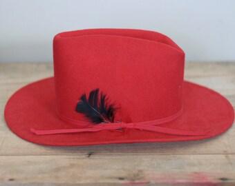 vintage red felt junior or youth cowboy hat