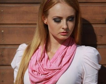 Pink White Striped Infinity Scarf Jersey Knit Light Weight Eternity Scarf Cowl, Circle Loop Scarf, Fal Winter 2014 Woman Fashion Accessories