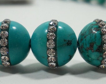 Fancy Rhinestone Embedded Natural Turquoise Round Beads 9mm - 10mm - wholesale options