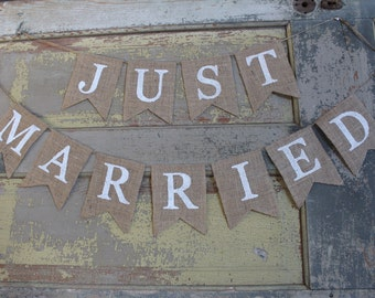 Just Married / Just Married Banner / Just Married Sign / Wedding Reception Sign