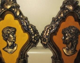 Vintage Set of 2 Greco-Roman style Chalkware Plaques