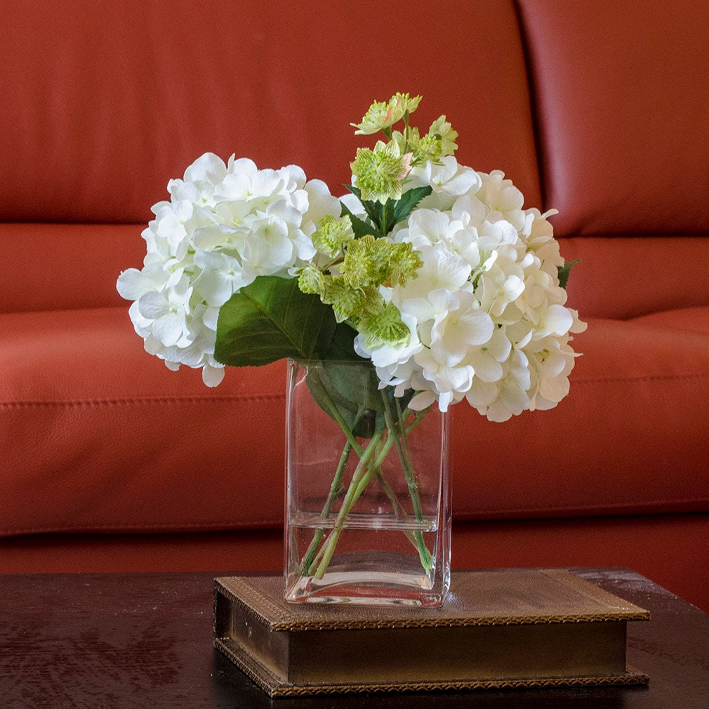 white hydrangea arrangement silk flowers greenery spray. Black Bedroom Furniture Sets. Home Design Ideas