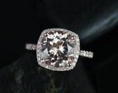 Samina 10mm 14kt Rose Gold  Morganite and Diamonds Cushion Halo Engagement Ring