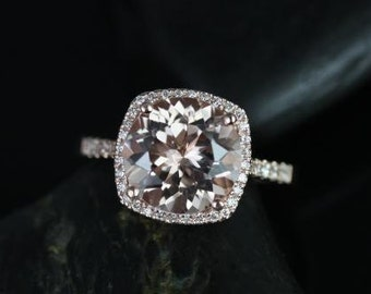 Samina 10mm 14kt Rose Gold  Morganite and Diamonds Cushion Halo Engagement Ring (Other metals and stone options available)