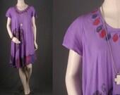 Boho Dress Hi low Maxi Caftan purple lavender Bohemian Hippie Gypsy women size S or M OSFA