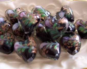 Lampwork Black Floral HEART Rose Glass 15mm Beads