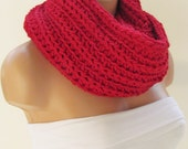Red Infinity Loop Scarf,Neckwarmer,Handmade Circle Scarf,Cowl Scarf, Winter Accessories, Fall Fashion,Holiday Accossories,Chunky Scarf.