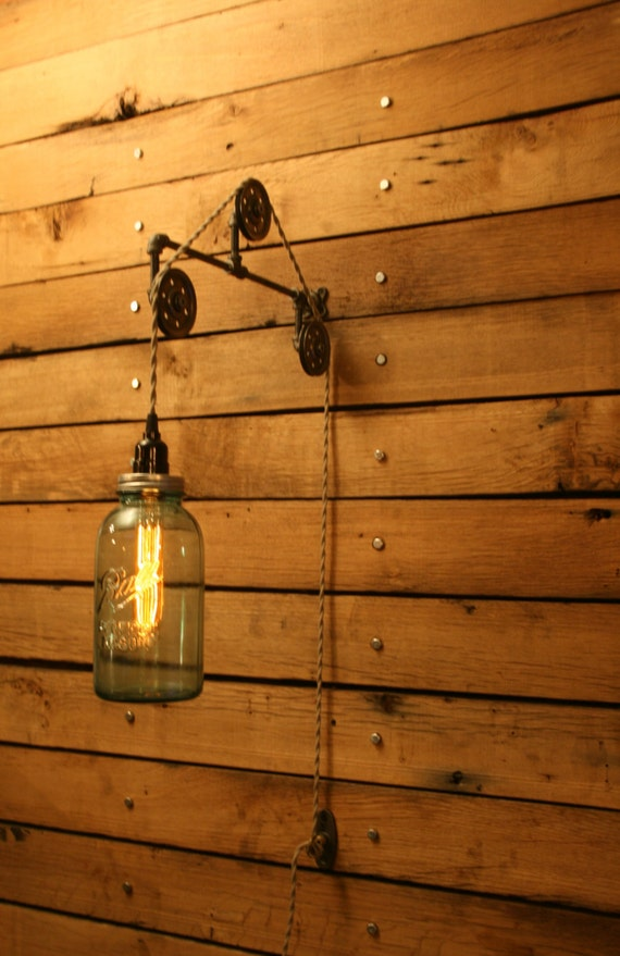 Wall Mounted Fruit Jar Lights : On SALE Vintage Blue Ball Jar Pulley Light Wall Mount