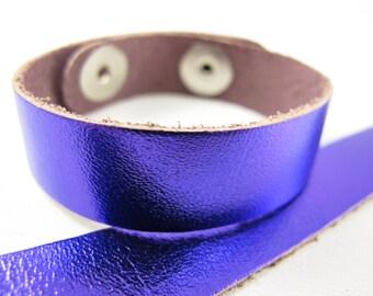 "Metallic Puprle Leather Cuff Bracelet 5/8"" Wide, #50-85831005"