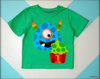 Monster's Love Cupcakes Birthday Shirt