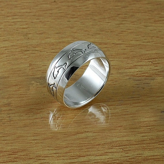 dolphin ring dolphin band ring 925 sterling silver by