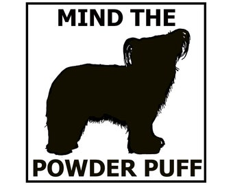 Mind the Chinese Crested Powder Puff ceramic door/gate sign tile