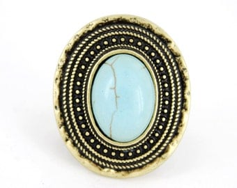 Vintage Retro Gold-tone Blue BIG Natural Turquoise Stone Elastic String RING,Stretchy,K5