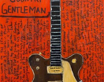 George Harrison 1962 Gretsch Country Gentleman guitar art. Print. The Beatles Ed Sullivan