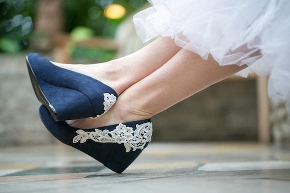 Wedding Shoes Navy Blue Wedges Wedding Heels Navy By