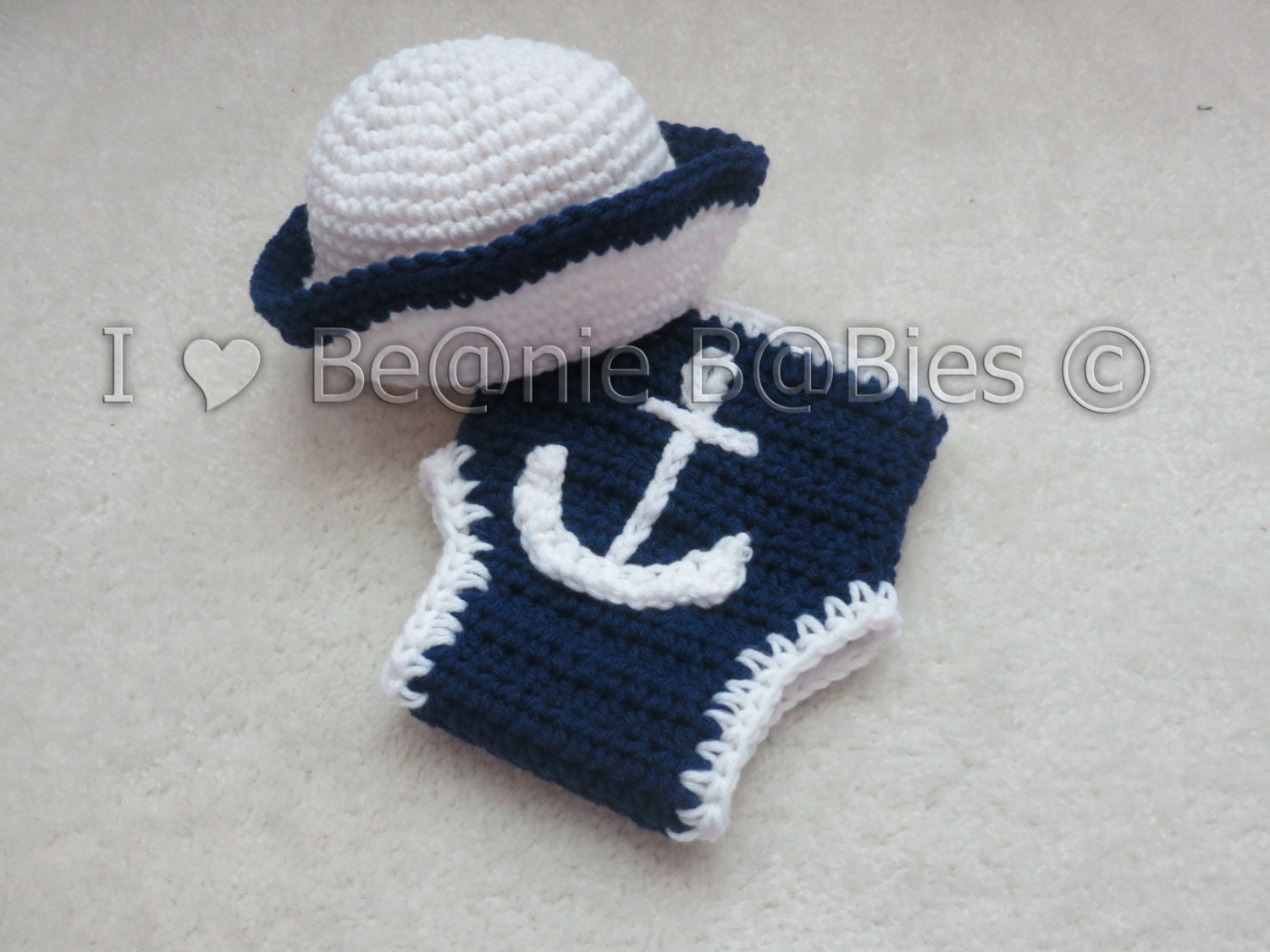 Crochet Pattern Sailor Hat : Crochet photo prop Sailor Hat and diaper cover anchor applique