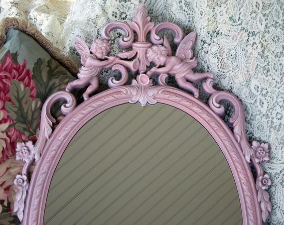 Vintage Pink Wall Mirror Cherub Angel By Wildmountainstudio