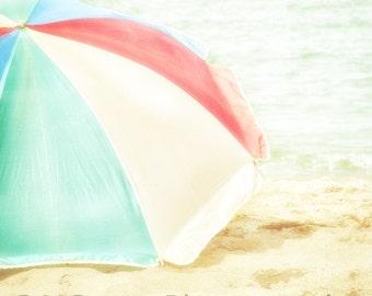 Beach House Photography, Beach Umbrella Photograph, Summertime, Vintage, Shabby Chic, Home and Office Decor fPOE