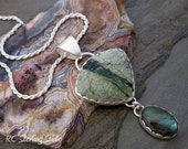 Jasperoid and labradorite sterling silver pendant necklace - silversmith