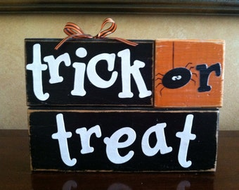 Wood Trick or Treat Blocks - Wood Halloween blocks - Seasonal Home Decor for fall, halloween, and thanksgiving decorating