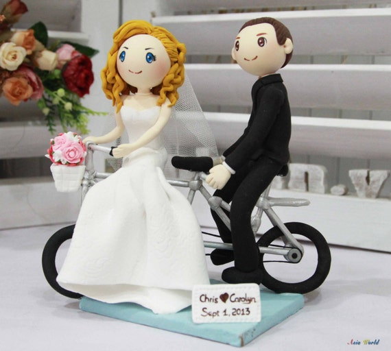 Wedding Cake Topper Wedding Clay Couple With Tandem Bike Clay