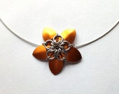 Copper Chainmaille Flower Necklace