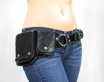 Hip Pack Leather Utility Belt - Black (Unique style, versatile belt. Great storage. Large enough to store most ANY phone on the market)