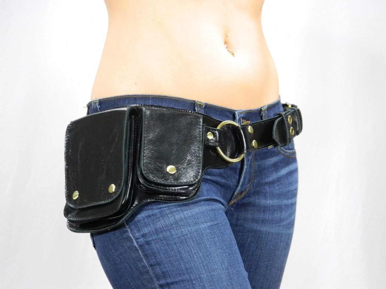 hip pack leather utility belt black unique style versatile