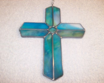 """FREE SHIPPING !  Stained glass cross suncatcher. Specify colours when ordering . Approx 8"""" x 6"""""""
