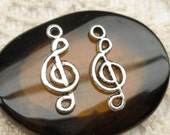 G clef Musical Note Music Charm, Antique Silver (6) - S175