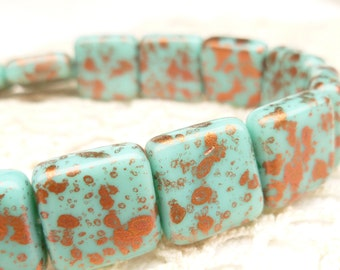 Flat Square Turquoise Copper Czech Glass Beads - Full Strand