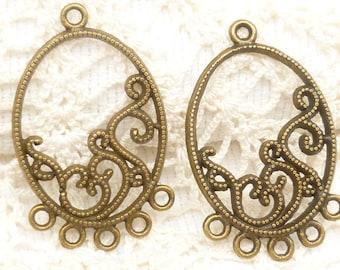 Filigree Oval Earring Chandelier Findings Charms Pendants, Antique Bronze (4) - A68