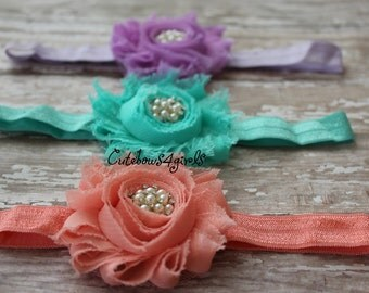 3 peach flower headband - aqua flower headbband - light purple flower headband - peach headband - aauqn headbna d- light purple headband