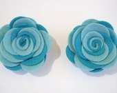 Turquoise hair clips, Teal hair clips, Turquoise flower, Toddler Clips, Pig Tail clips, clip, pin. Summer, Spring, Easter