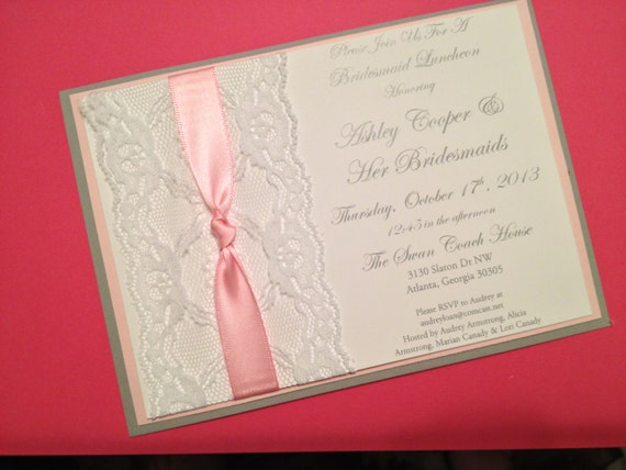 Pink, Grey and White Lace Bridal Shower Invitations