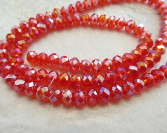 """Siam Red AB Faceted Rondelle Crystals, Beads, 6x4mm, 8"""" Strand"""