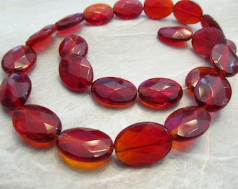 """8"""" Strand Cherry Red Faceted Glass 18x13mm Oval Beads, Just Gorgeous"""