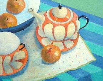 The Orange Teapot I. Fine Art Gift Card 4x4 inches