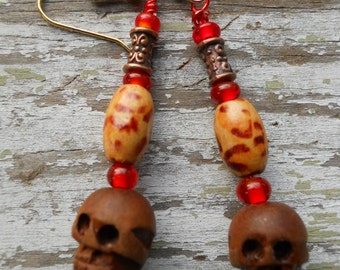 Halloween jewelry The Real Dia de Los Muertos handcarved wooden skull dangle earrings with leopard spot bamboo, vintage red glass and copper