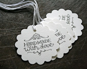 Personalized wedding favor tags, gift tags, 50. Hand Made With Love design, with custom names and date.