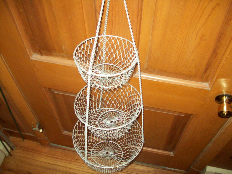 3 Tier Wire Hanging Mesh Baskets Fruit Veggies Retro Vintage